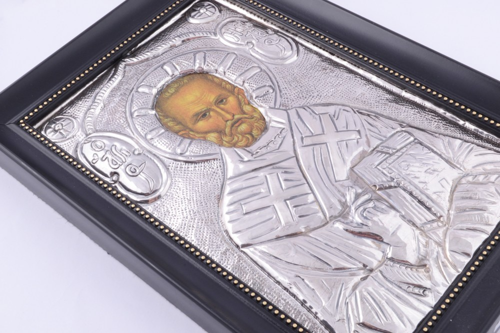 Obiecte argint masiv icoana Sf.Nicolae