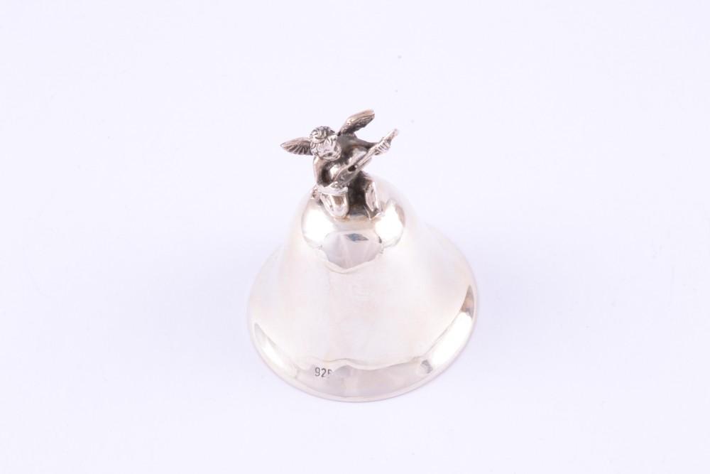 Obiecte argint masiv clopotel cu ingeras