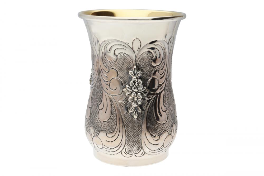 Pahar argint masiv model floral interior aurit