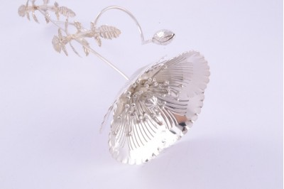 Floare argint masiv