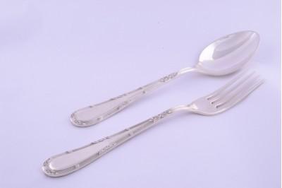 Set tacam argint masiv lingura cu furculita