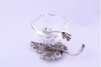 Obiecte  argint masiv solnita cu cristal si lingurita